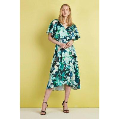 Petite Green Floral Cape Sleeve Dress