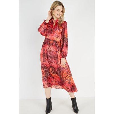 Petite Red Paisley Halter Dress