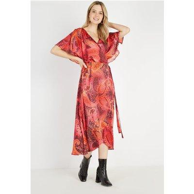 Petite Red Paisley Cape Sleeve Dress