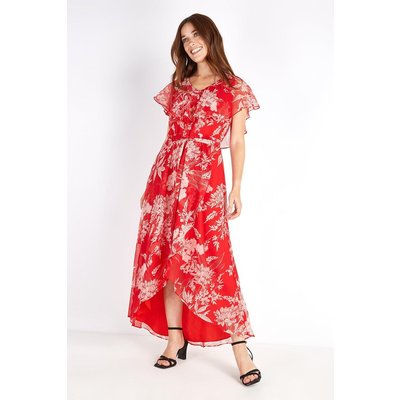 Petite Red Sketch Floral Cape Sleeve Dress