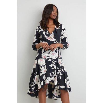 Petite Black And Pink Ruffle Neck Wrap Dress