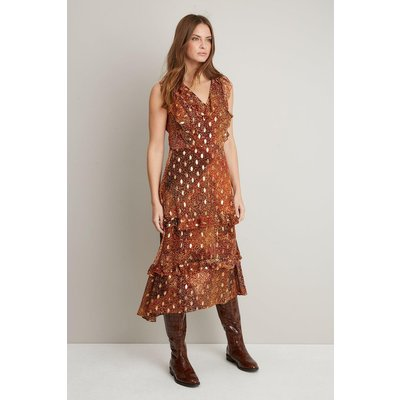 Amber Animal Ruffle Neck Wrap Dress