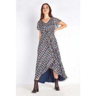 Petite Teal Metallic Spot Cape Sleeve Dress