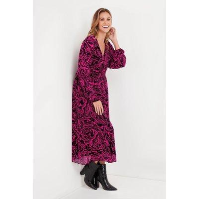 Pink Swirl Frill Sleeve Midi Dress