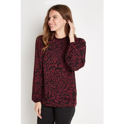 Berry Animal Shirred Neck Jersey Top