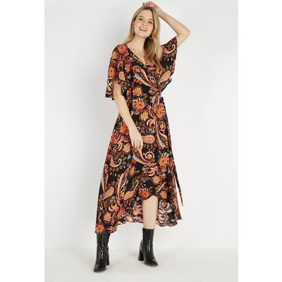 Petite Amber Paisley Cape Sleeve Dress