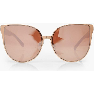 Womens Rose Gold Oversized Retro Sunglasses - metallics - One Size, Metallics