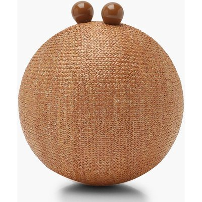 Womens Straw Sphere Clutch Bag - beige - One Size, Beige