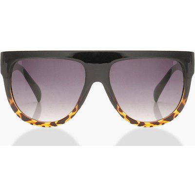 Womens Leopard Oversized Flat Top Sunglasses - black - One Size, Black