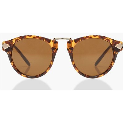 Womens Tortoiseshell Contrast Round Sunglasses - brown - One Size, Brown