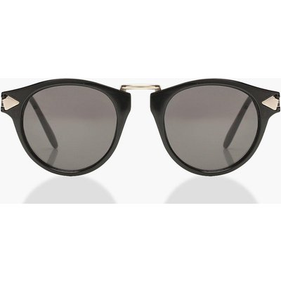 Womens Contrast Gold Round Sunglasses - black - One Size, Black