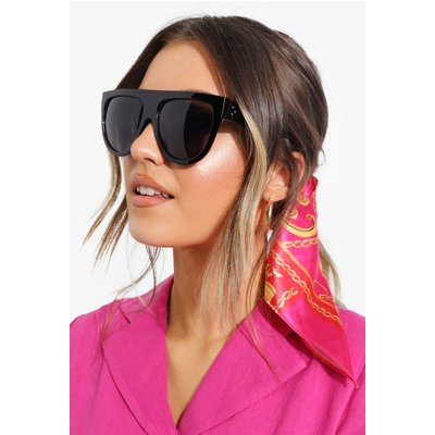 Womens Oversized Flat Top Sunglasses - black - One Size, Black