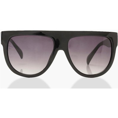 Womens Oversized Flat Top Sunglasses & Case - black - One Size, Black