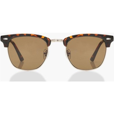 Womens Square Top Tortoiseshell Sunglasses & Case - brown - One Size, Brown