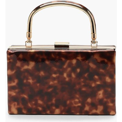 Womens Resin Effect Box Clutch Bag With Handle - brown - One Size, Brown