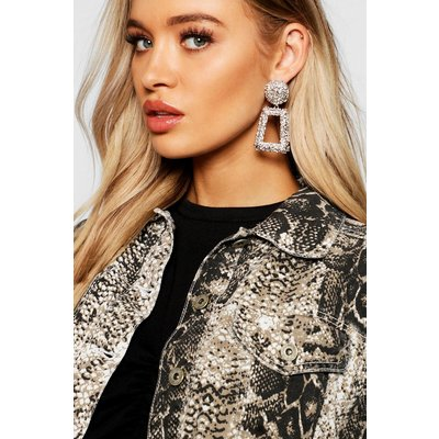 Womens Textured Oversized Statement Earrings - grey - One Size, Grey