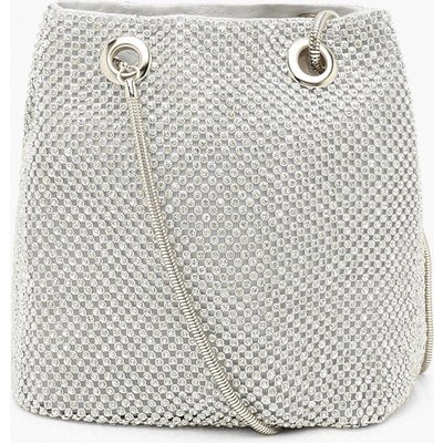 Womens All Over Diamante Bag - grey - One Size, Grey