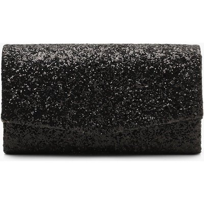 Womens Structured Glitter Envelope Clutch Bag With Chain - Black - One Size, Black