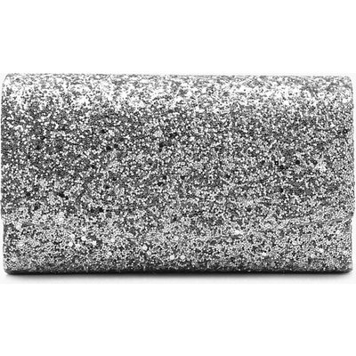 Womens Structured Glitter Envelope Clutch Bag With Chain - Grey - One Size, Grey