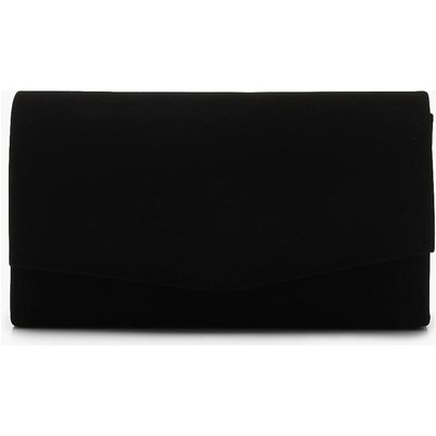 Womens Structured Suedette Clutch Bag & Chain - Black - One Size, Black