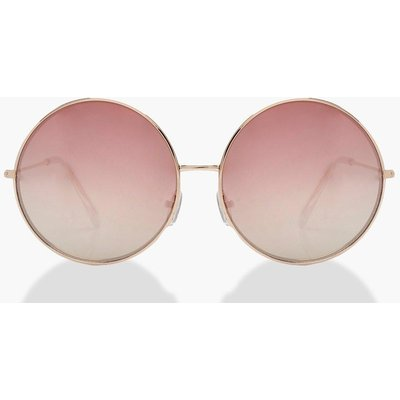 Womens Rose Gold Oversized Round Sunglasses - metallics - One Size, Metallics