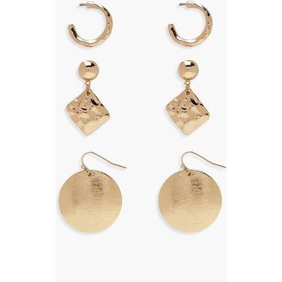 Womens Textured Mixed Earring Pack - metallics - One Size, Metallics