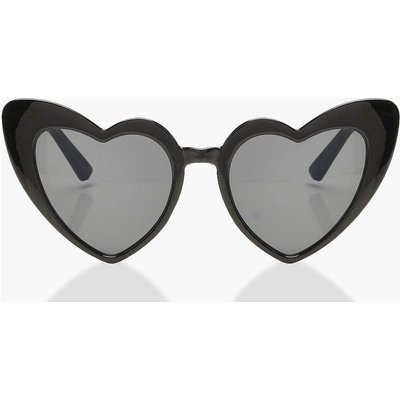 Womens Oversized Heart Cat Eye Sunglasses - black - One Size, Black