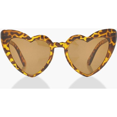 Womens Oversized Heart Cat Eye Sunglasses - brown - One Size, Brown