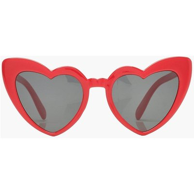 Womens Oversized Heart Cat Eye Sunglasses - red - One Size, Red