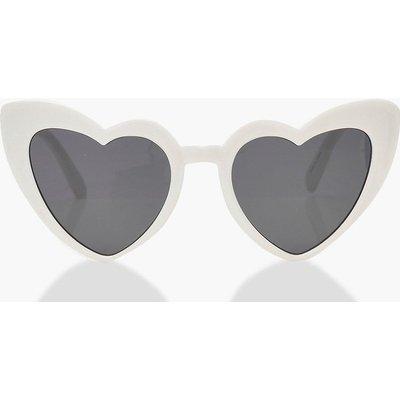 Womens Oversized Heart Cat Eye Sunglasses - white - One Size, White