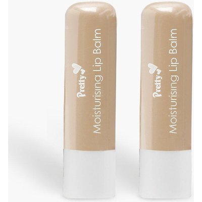 Womens Pretty Shea Butter 2 Pck Moisturising Lip Balms - white - One Size, White