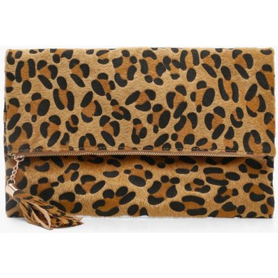 Womens Pony Leopard Foldover Clutch Bag - beige - One Size, Beige