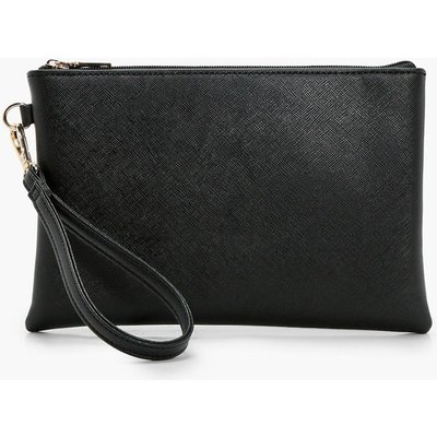 Womens Cross Hatch Zip Top Clutch Bag - black - One Size, Black