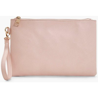 Womens Cross Hatch Zip Top Clutch Bag - Beige - One Size, Beige