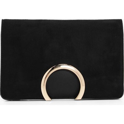 Womens Metal Circle Suedette & PU Clutch Bag - black - One Size, Black