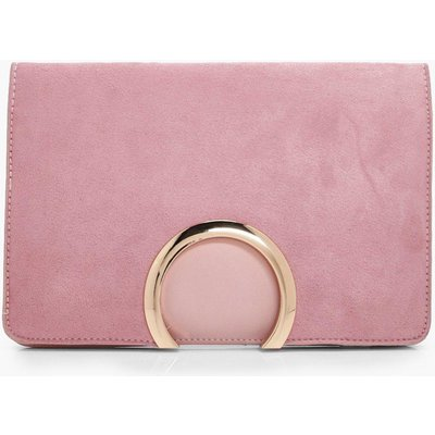 Womens Metal Circle Suedette & PU Clutch Bag - pink - One Size, Pink