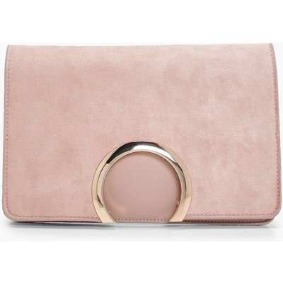 Womens Metal Circle Suedette & PU Clutch Bag - beige - One Size, Beige
