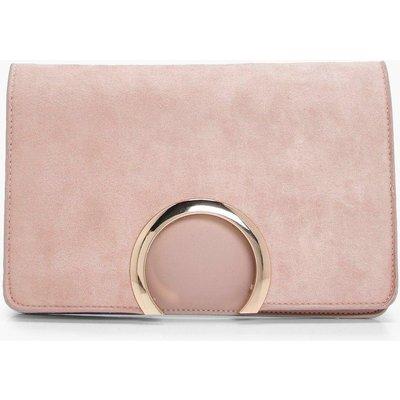 Womens Metal Circle Suedette & PU Clutch Bag - beige - One Size, Beige