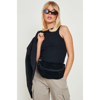Womens Oversized Suedette Bumbag - black - One Size, Black