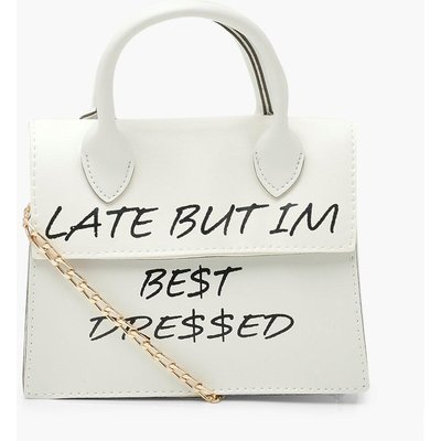Womens Late But Best Dressed Slogan Cross Body Bag - White - One Size, White