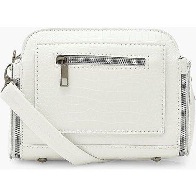 Womens Croc Pu Zip Detail Cross Body Bag - White - One Size, White