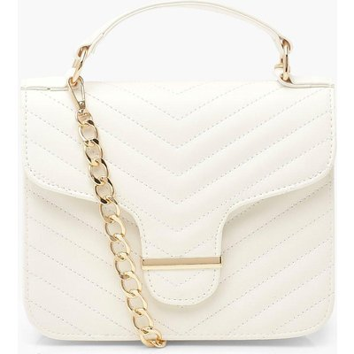 Womens Quilted Bar Detail Cross Body Bag - White - One Size, White