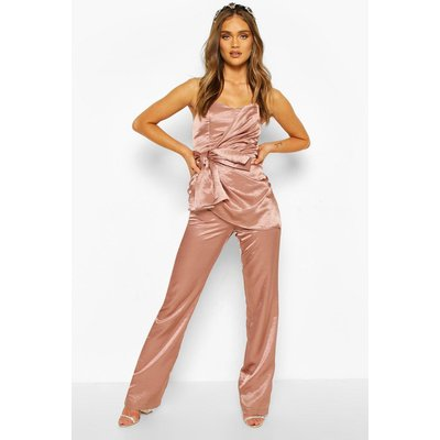 Womens Boohoo Occasion Satin Bandeau Bow Jumpsuit - Pink - 8, Pink