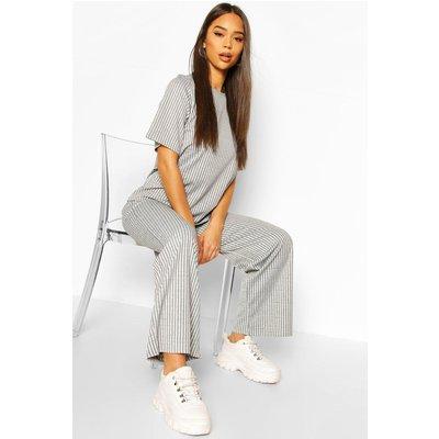 Womens Contrast Rib Oversized T-Shirt & Jogger Co-Ord - Grey - 10, Grey