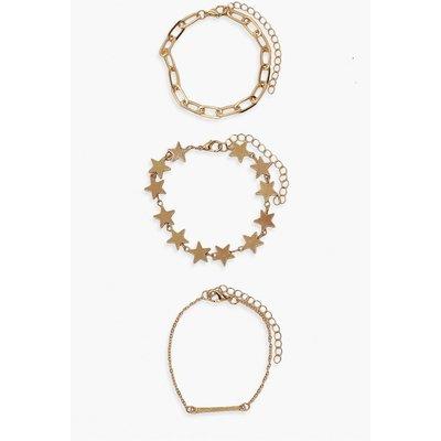 Womens Star & Chain Bracelet 3 Pack - Metallics - One Size, Metallics