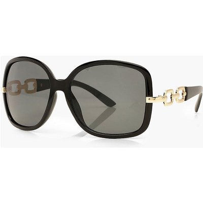Womens Oversized Chain Detail Sunglasses - Black - One Size, Black
