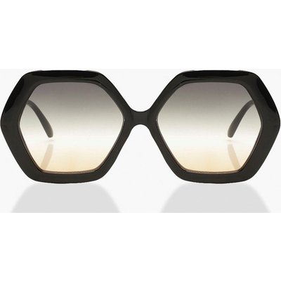 Womens Hexagon Oversized Sunglasses - Black - One Size, Black