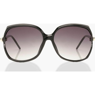 Womens Tortoise Shell Detail Oversized Sunglasses - Black - One Size, Black