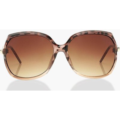 Womens Tortoise Shell Detail Oversized Sunglasses - Brown - One Size, Brown