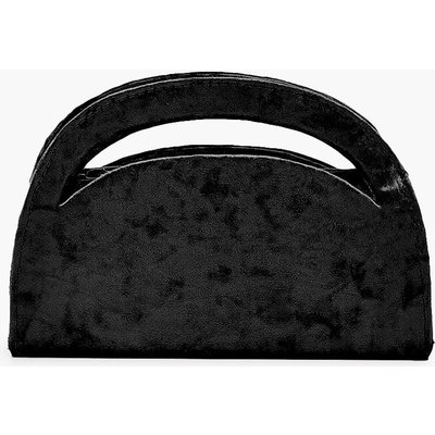 Womens Velvet Structured Handle Clutch Bag & Chain - black - One Size, Black